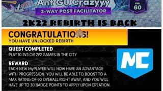 HOW TO ACTIVATE THE REBIRTH QUEST ON NBA 2K 22 NEX GEN!!!!