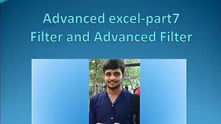 Advanced Excel in tamil part7- Filter and Advanced Filter