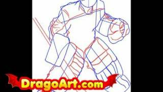 How to draw a goalie, step by step