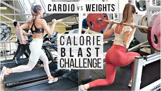1 HOUR CALORIE BLAST CHALLENGE | CARDIO VS WEIGHTS