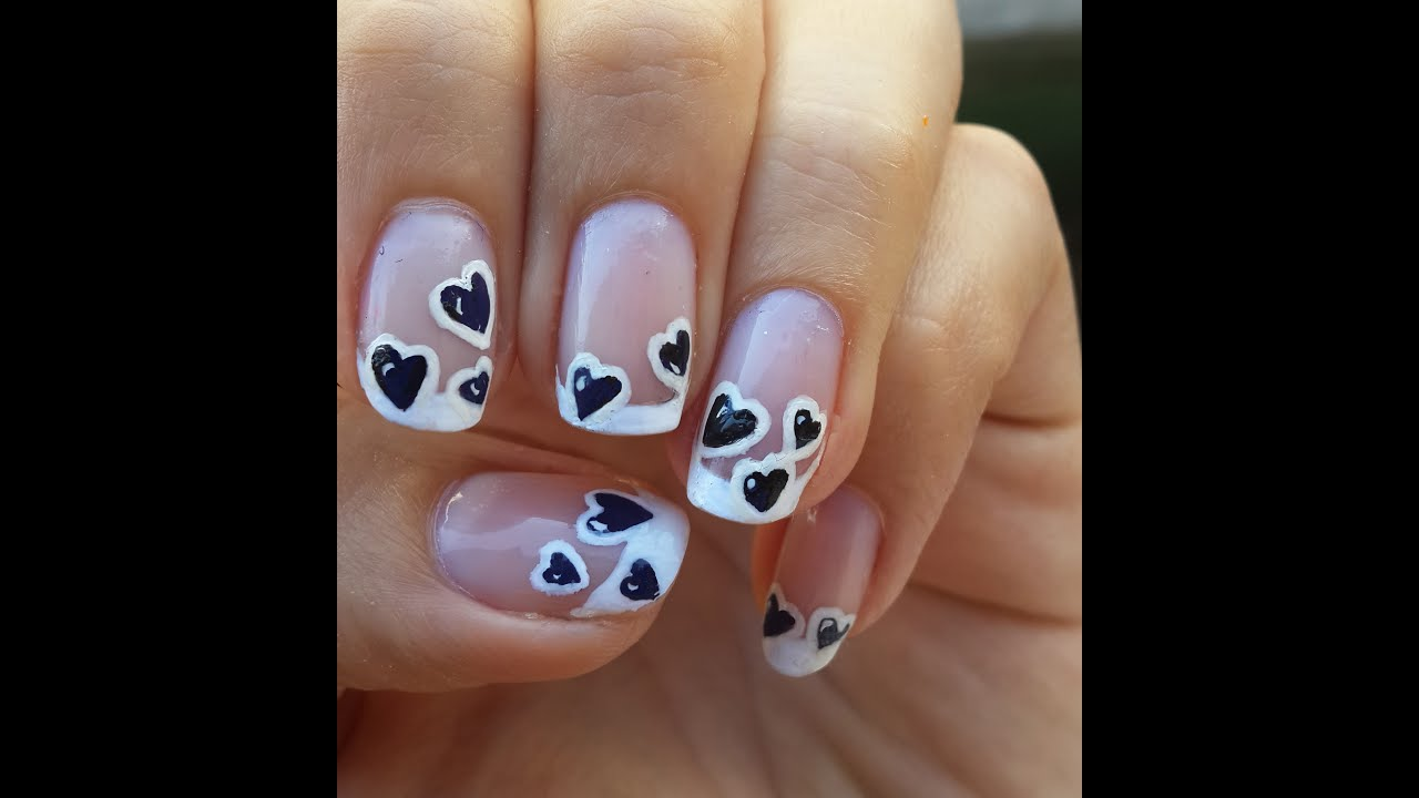 Diseño de Uñas con Corazones Negros , Black Hearts Nail Art Design , YouTube