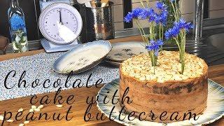 Шоколадный торт с арахисовым кремом |Chocolate cake with peanut buttercream.