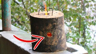 WOW!!! AWESOME DIY IDEA - How To Make a Log Rocket Stove Easily