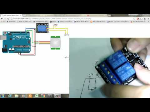 PIR motion sensor+Lamp+relay+arduino(เปิดปิดไฟบ้าน220V)