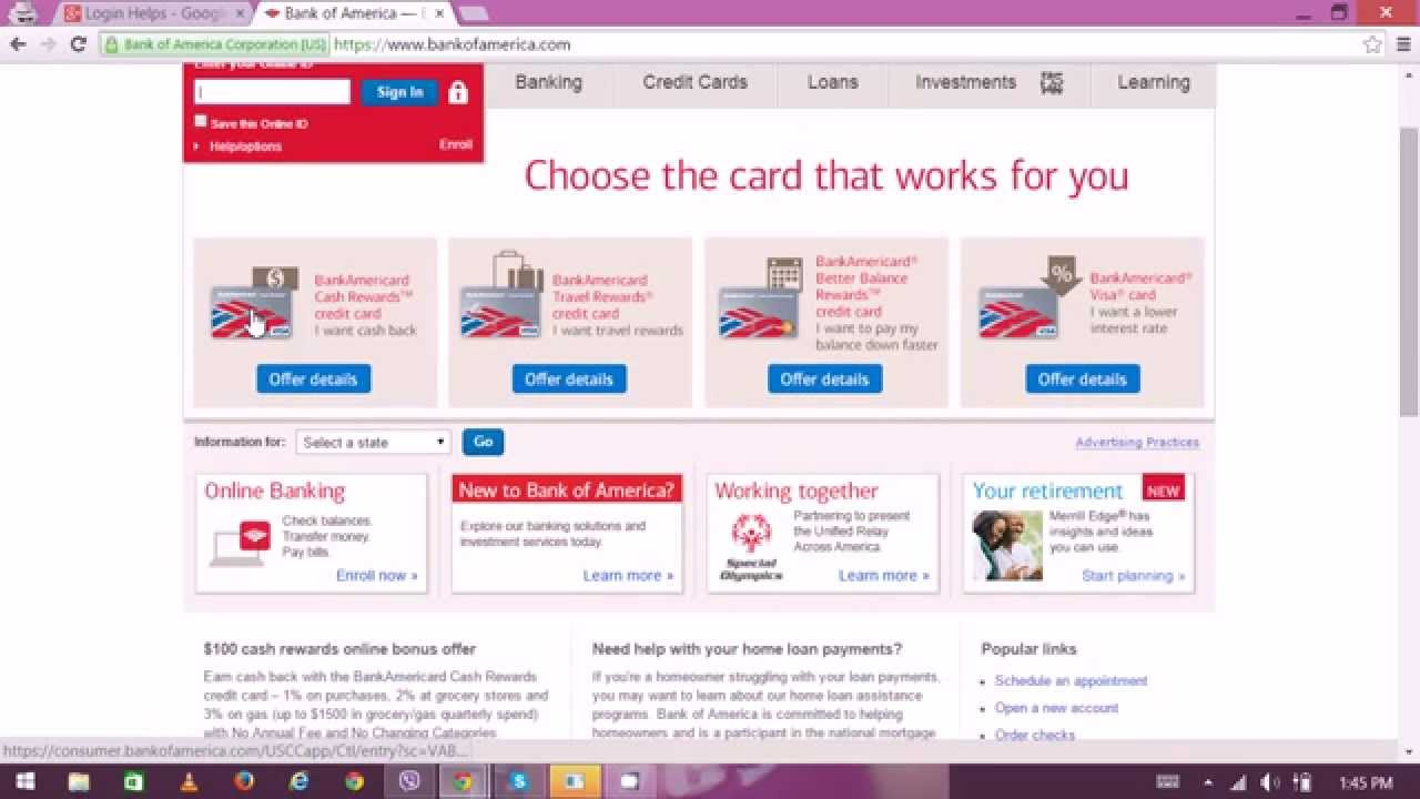bank of america online personal banking sign