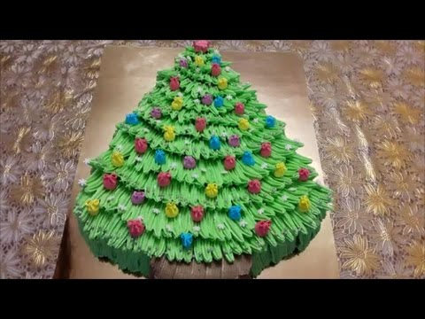 Торт НОВОГОДНЯЯ ЁЛКА Украшаем торт белково заварным кремом Cake decoration смотреть онлайн