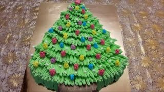 Торт НОВОГОДНЯЯ ЁЛКА Украшаем торт белково заварным кремом Cake decoration