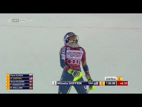 Mikaela SHIFFRIN 2nd run (2nd place) SL - LEVI (FIN) 2017