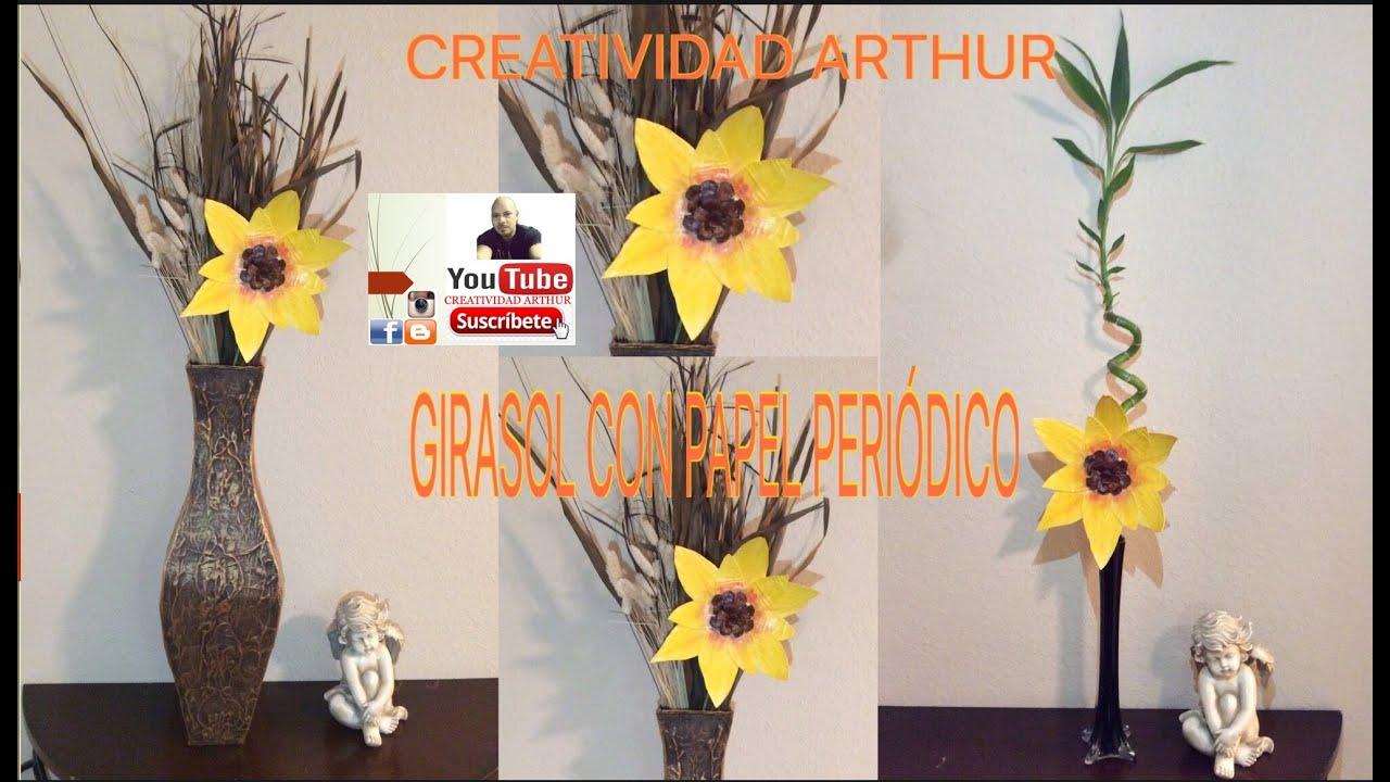 GIRASOL DE PAPEL PERIODICO - YouTube