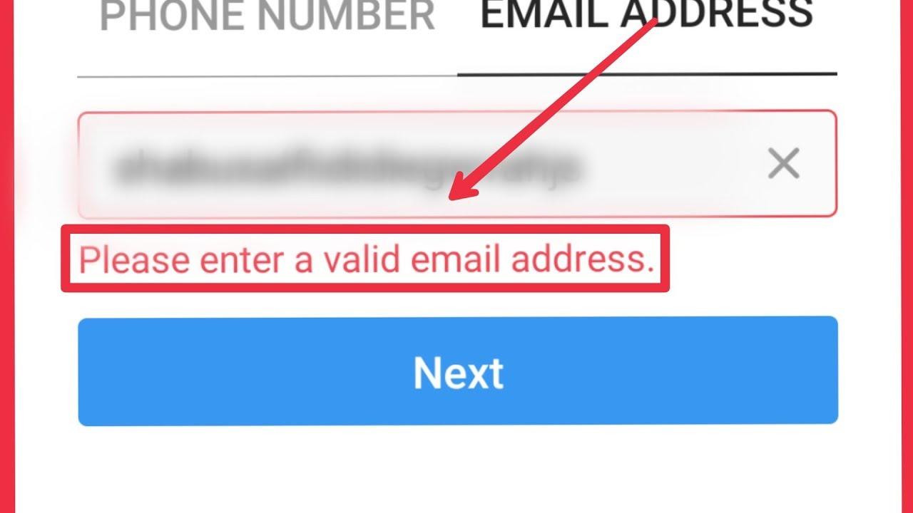 Instagram || Please Enter a valid email address Problem solve