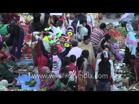 Hustle and bustle in Imphal city during Ningol Chakhouba