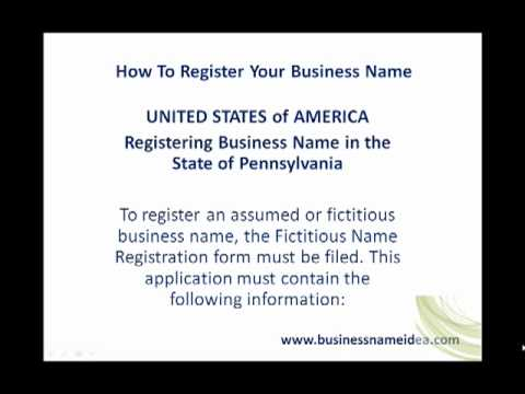 Registering Business Name in the State of Pennsylvania - YouTube