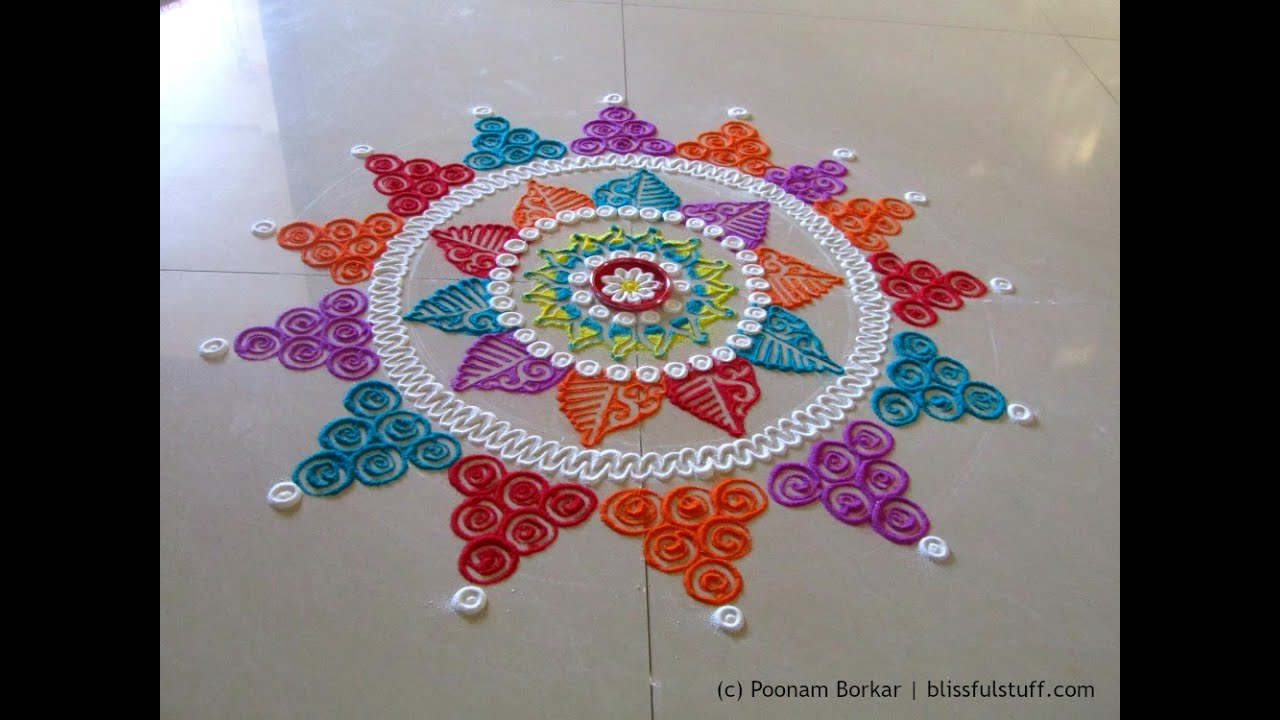 beautiful multicolored rangoli creative and unique