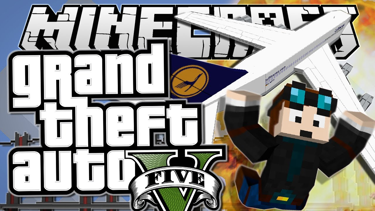 Minecraft Grand Theft Auto Gta Plane Stunts Mods Showcase Funny Moments Youtube
