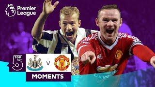 Newcastle v Manchester United | Top 5 Premier League Moments | Shearer, Rooney, Solskjaer