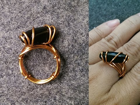 simple rings with stones without holes - wire wrap jewelry making 11