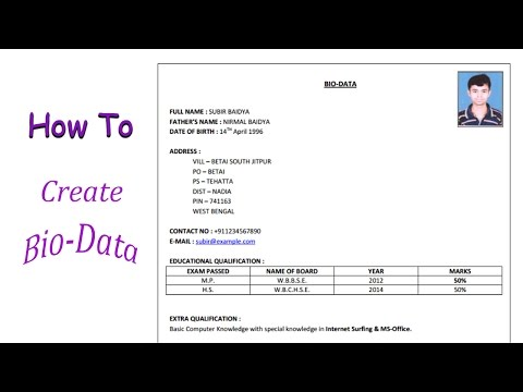 MS Word | How To Create Bio Data in Microsoft Word