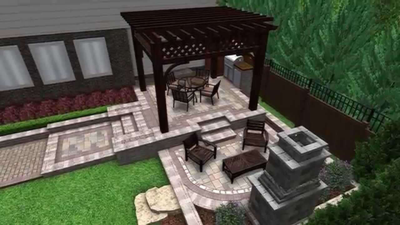 Landscape design 3d digital walkthrough open air pergola for Fireplace on raised deck