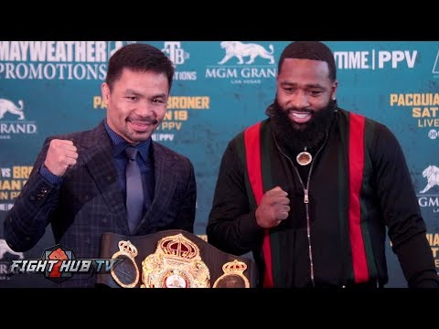 MANNY PACQUIAO VS ADRIEN BRONER - THE FULL LA PRESS CONFERENCE AND FACEOFF VIDEO