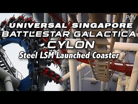 Battlestar Galactica Cylon (Day) On-ride POV, Universal Studios Singapore