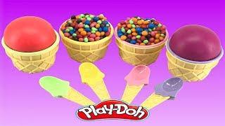 Play Doh Ice Cream Learn Colors Cupcakes Surprise Eggs Toys ไอศครีมแป้งโดว์และตัวเลข |ของเล่นเด็ก