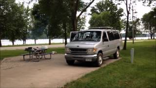 Car Camping on tнe Mississippi River in the Ford E350 Camper Van