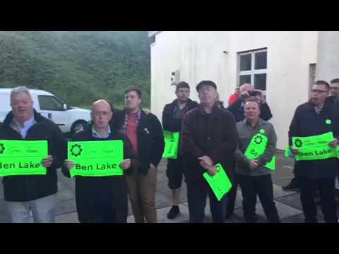 Plaid Cymru supporters sing Hen Wlad Fy Nhadau after Ben Lake's election win