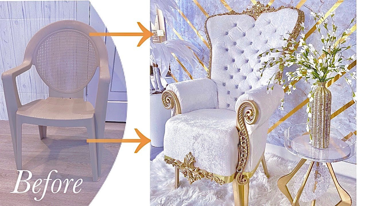 SEE HOW I TURNED A PLASTIC CHAIR INTO A THRONE CHAIR | DIY CHAIR ON A BUDGET!
