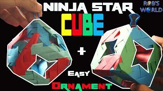 How To Make an Origami Ninja Star CUBE! (+ Ornament)
