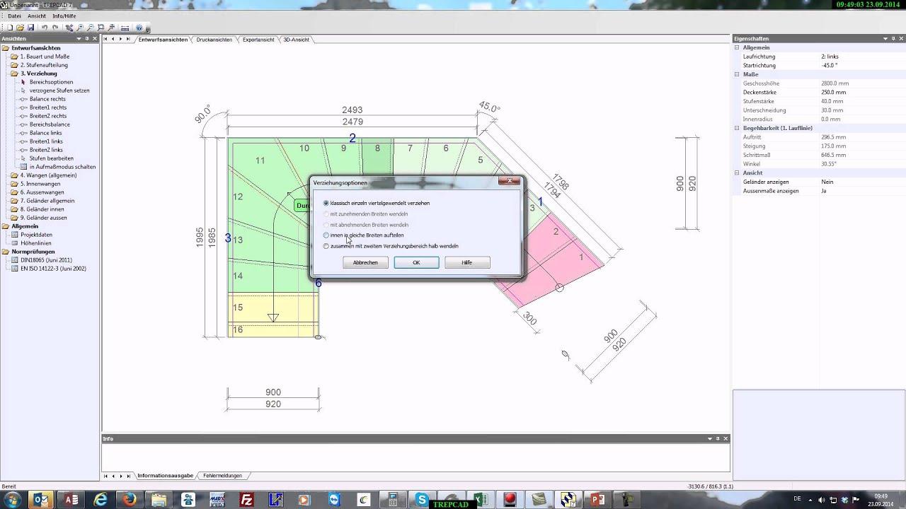 Erstellen einer 2 mal ein viertel gewendelten Treppe mit TREPCAD 7