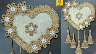 DIY Heart Shaped Wall Hanging with Jute Rope | Wall Decor Showpiece Making Using Jute Rope