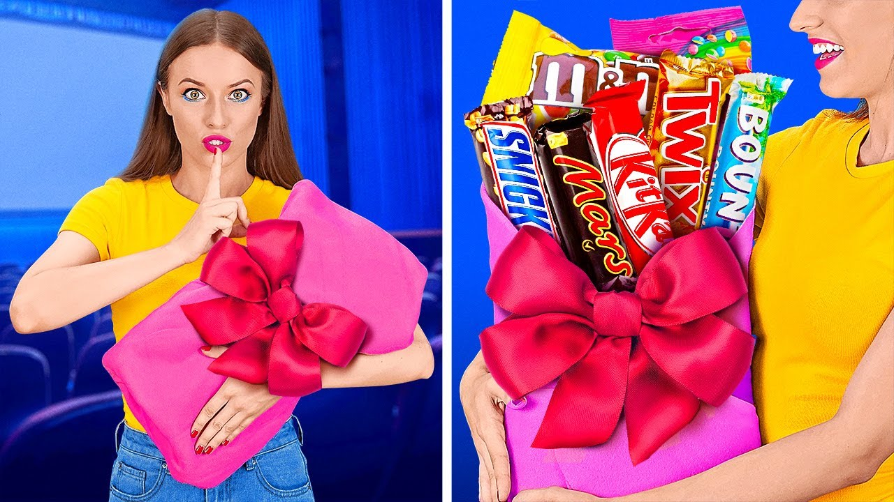 FUNNY WAYS TO SNEAK FOOD INTO THE MOVIES    Cool Food Hacks by 123 GO!