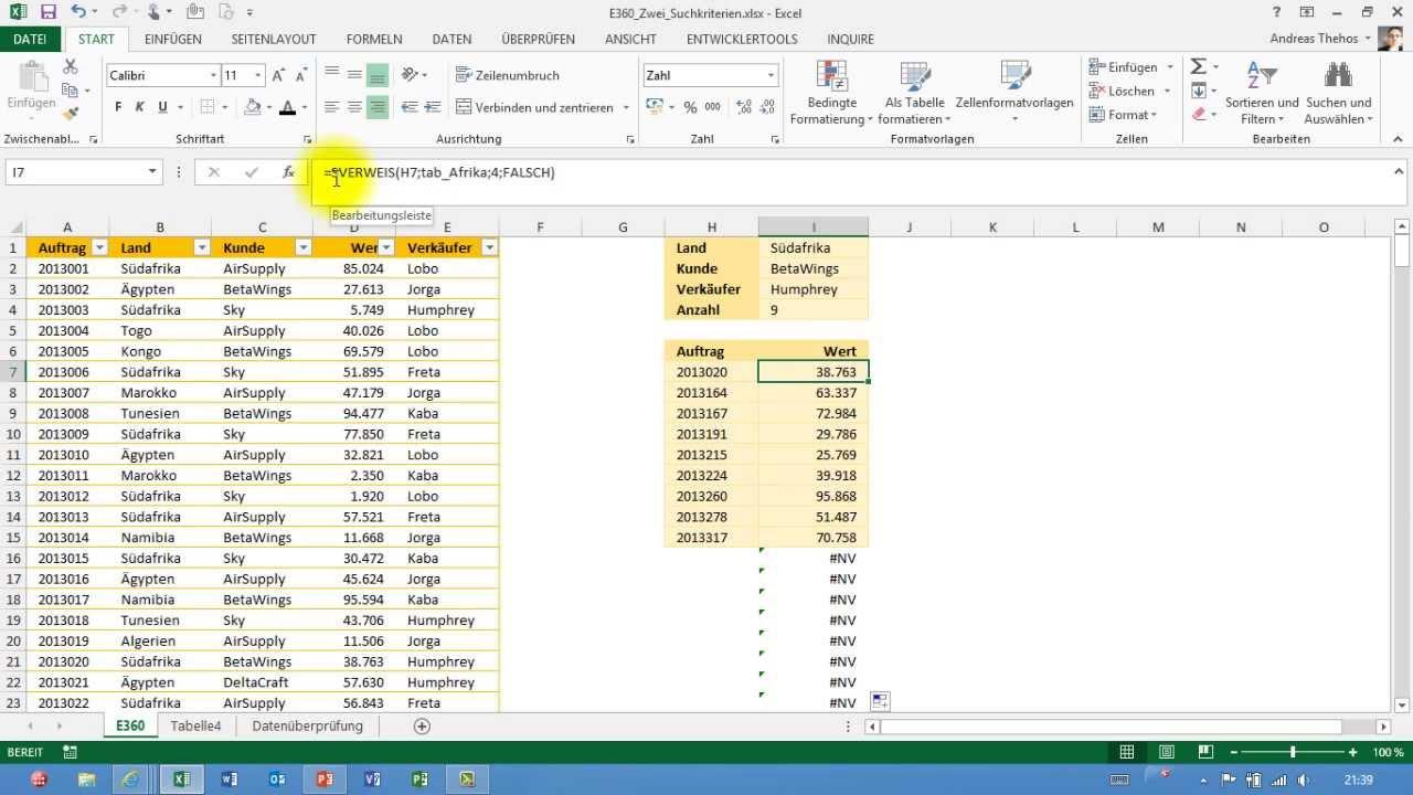 Excel # 360 - Mehrere Suchkriterien - mehrere Treffer - AGGREGAT ...