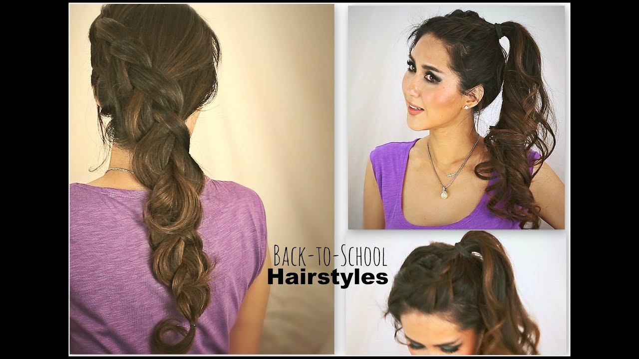 Cute hairstyles for curly hair -  2 Cute School Hairstyles Hair Tutorial For Medium Long Hair Katniss Braid Curly Ponytail Updos Youtube