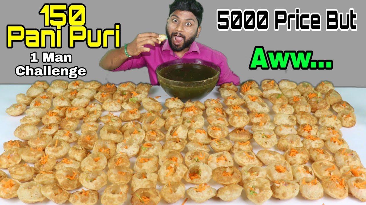 150 Pani Puri Eating Challenge  Rs5000 Prize   One Man Challenge   Golgappa   EATING CHALLENGE BOYS