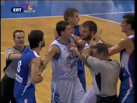 Greece-Serbia fight Basketball 19/8/2010 Acropolis Tournament