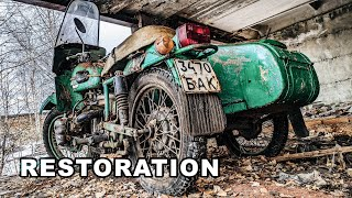 "Old Soviet USSR Motorcycle Restoration - Rusty Sidecar | Rusty Abandoned Motorcycle from 1986 ""URAL"""