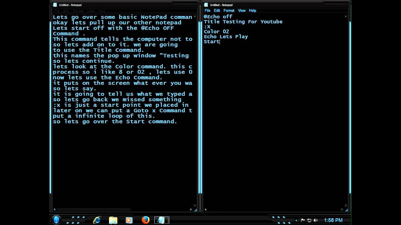 Basic Notepad Commands windows 7