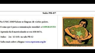 Aula 12 do curso de esperanto da Unicamp - AM047 , dia 200601