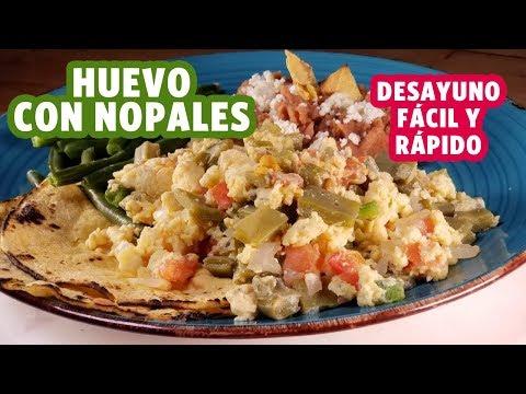 Desayuno para bajar de peso Huevo con Nopales