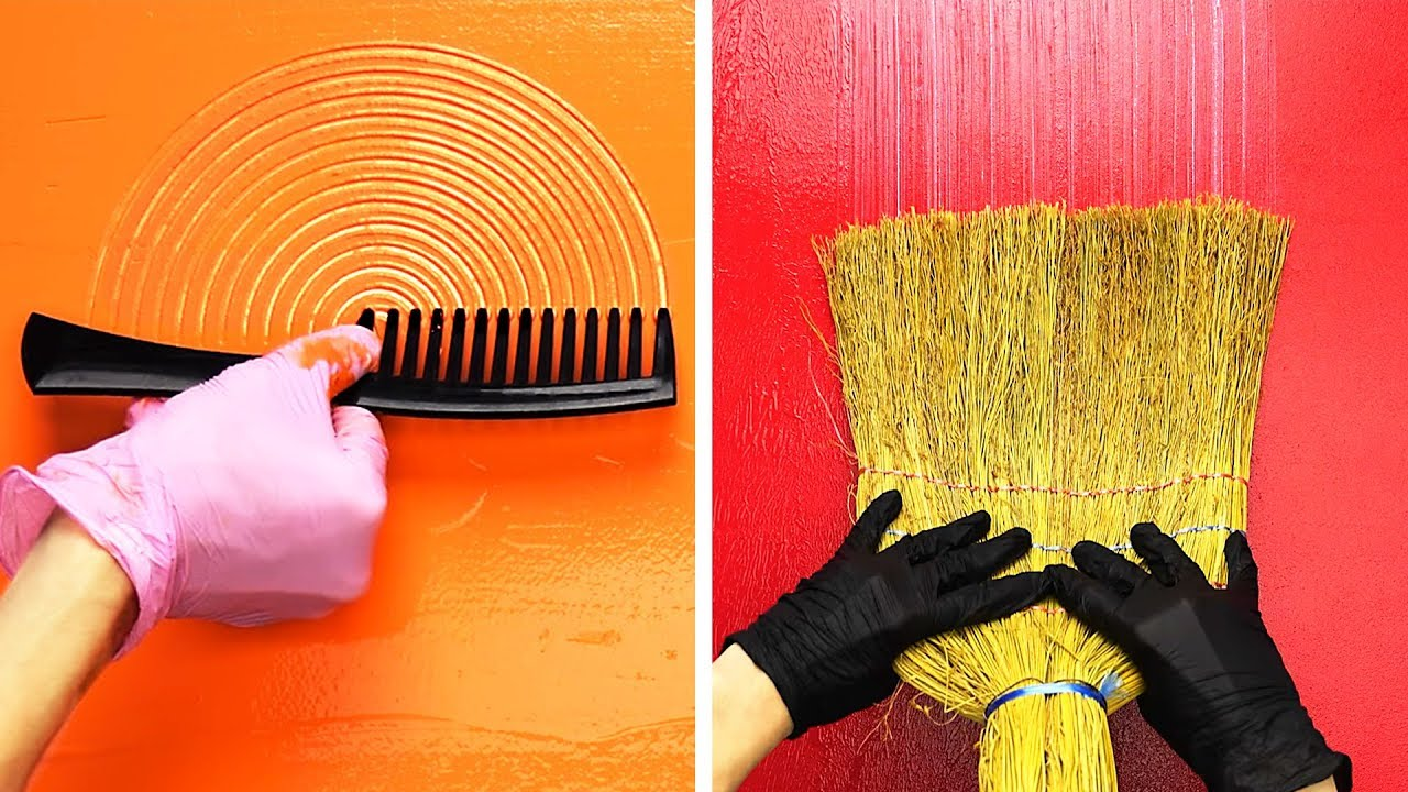 23 Wall Painting Ideas Using Ordinary Things Youtube