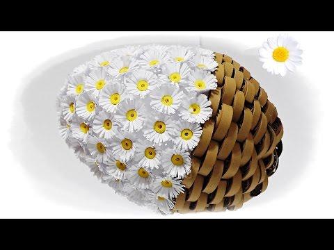 Unikalne jajko wielkanocne z papieru _ stokrotki _ quillingowe 🐣 jak HV94