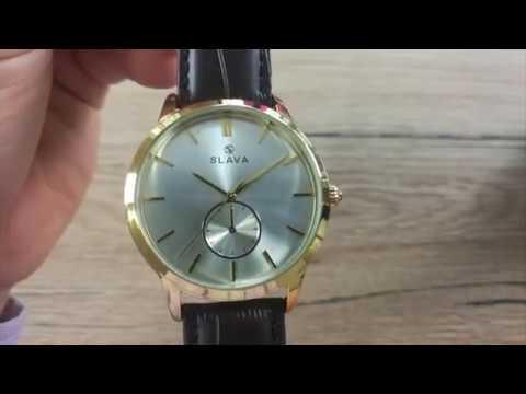 2e32b24c8b4 Pánské zlaté elegantní hodinky SLAVA se stříbrným ciferníkem SLAVA 10141