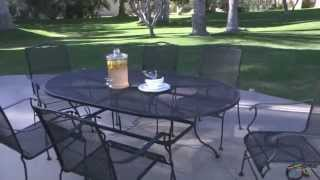 Woodard 48 In. Round Wrought Iron Patio Dining Table - Product Review Video