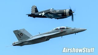 F/A-18F Super Hornet / F4U Corsair Formation Flybys and Wing Fold - Cleveland National Airshow 2017