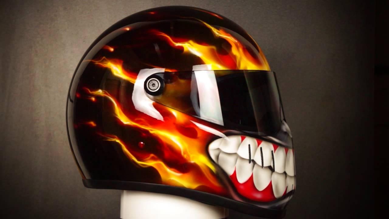 Bandit custom motorcycle helmet airbrushed in smiling design in bandit custom motorcycle helmet airbrushed in smiling design in true fire solutioingenieria Choice Image