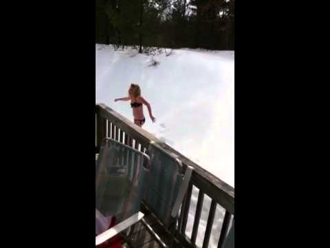 Jumping into the snow