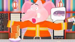 Готовка челлендж - пожарный слон в суши ресторане | Детский летсплей