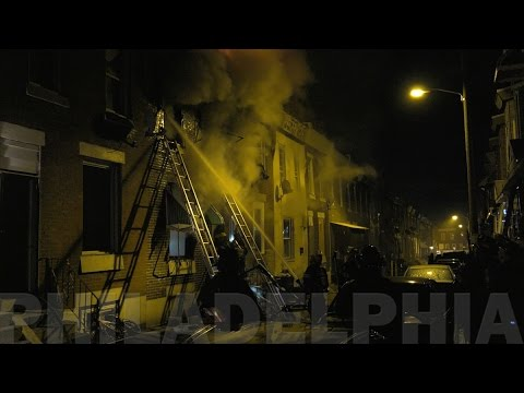 Philly firefighters battle this house fire on Weymouth Street 04/02/17