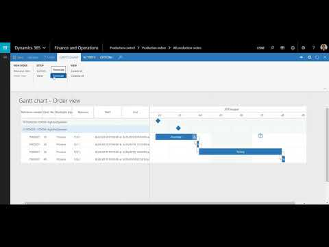 Gantt Chart Functionality in D365 for Finance and Operations